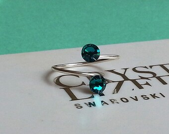 Silver Plated Blue Zircon Adjustable Toe Ring made with Swarovski Crystal Elements by LadyCJewellery
