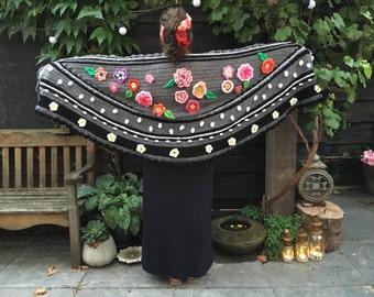 Crochet shawl crochet flowers crochet stole polkadots