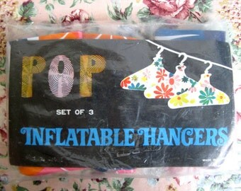 Vintage 1970s Hangers NOS Floral Blue Flower Power Colorful Inflatable Hangars