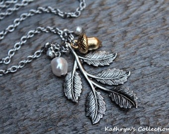 Woodland Harvest Necklace, Silver leaves, Acorn Necklace, Woodland Winter Jewelry