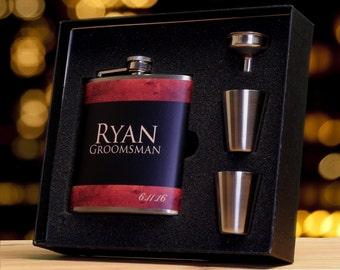 Groomsmen Gift Flasks, Set of 3