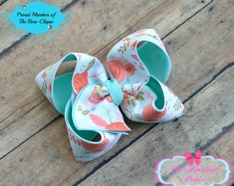 Mint and Coral Floral Print Boutique Bow