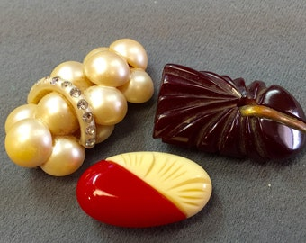 Three Art Deco Dress Clips-Bakelite and Celluloid