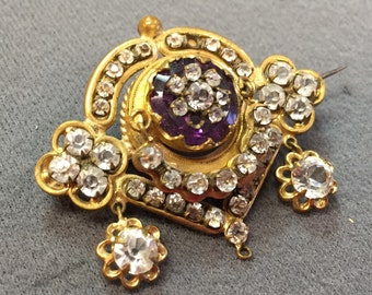 Lovely Victorian Rhinestone Brooch- as is.  Free shipping