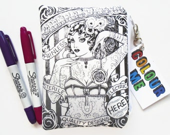Colour-In Tattoo Lady Doodle Wallet