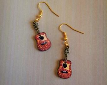 Gold Guitar earrings ~