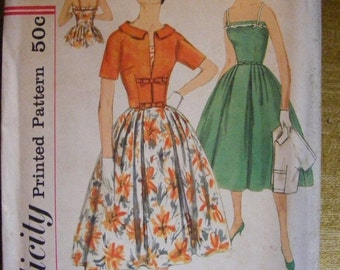 "51% OFF 1958 Uncut Simplicity Sewing Pattern 2499 Misses' Full Skirted Dress / Jacket Bust 36"" Size 16"
