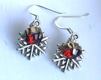 Snowflake Vintage Bead  Earring. Red 10mm Beads. Silver Snowflakes. Sterling Silver Earrings. Christmas Earrings. Up Cycle Bead. Hostess