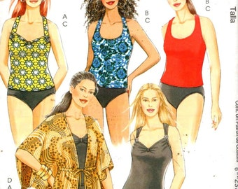 "McCalls 5674, Sz 26W-32W/Bust 48-54"".  Plus Size swimwuit/Plus Tankini with neckline options, UNCUT Plus Size sewing pattern."