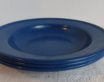 Vintage Enamelware, Spatter ware, Blue Bowls. 9 inch Spatter ware Bowls. Set of Three Bowls
