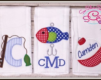 Personalized Fishing Themed Burp Cloths Set