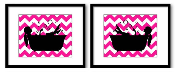 Bathroom decor bathroom print hot pink black girls in a for Pink and black bathroom decor