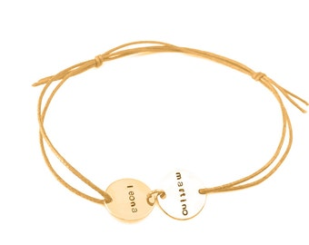 fine bracelet name cotton Ribbon color choice, 2 Rosé gold-plated pendant