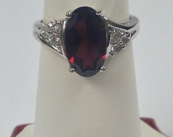 Natural Garnet and White Topaz Ring 925 Sterling Silver
