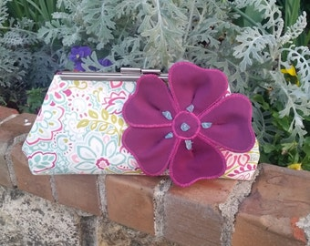 Turquoise, Magenta Purple & White Floral Small Purse. Fabric Flower w/ Turquoise Crystals. Silver Metal Purse Clasp. From MDS Creative