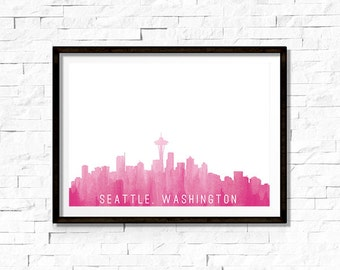Printable Wall Art - Seattle Skyline Silhouette, Pink - Instant Download