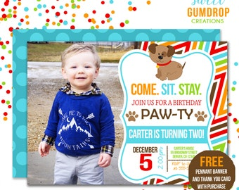 Puppy Birthday Invitation Style 2 - Printable - Free pennant banner and thank you card with purchase
