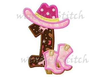 cowboy boot hat birthday applique number 1 machine embroidery design  instant download