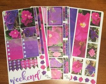 African Violet Planner Stickers for Erin Condren