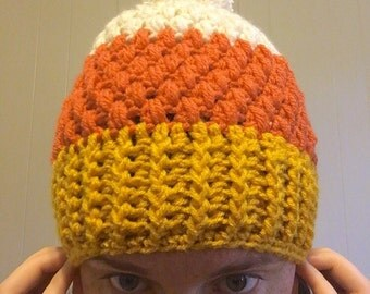 SALE. Ready to ship. Adult Puff Stitch Beanie. Crochet-candy corn-fall-halloween-winter hat.