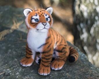 Felted toy tiger (felt toy, needle felting, toys of felt)