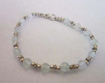 Vintage Sterling Silver & Aquamarine Beads Bracelet