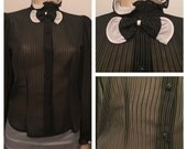 Robyn's Nest 80's does 40's pinstripe blouse / size medium / 40's style