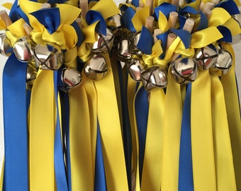 50 Wedding Wands/Wedding Ribbon Wands/Wedding Wand/Royal Blue and Yellow Wedding Wand