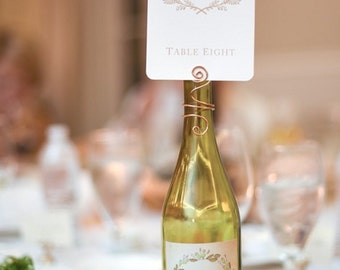 Wine Bottle Table Number Holder -  Wire Swirl  CardHolders - Weddings - Winery Events -  Wedding-  Bachelorette - Birthday Parties