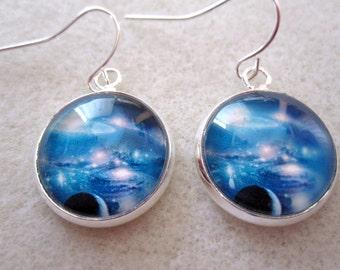 Space/Galaxy Cabochon Dangle Earrings