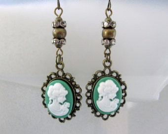 Green Cameo Dangle Earrings with Bling