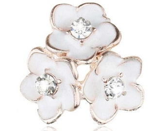 5 - White Enamel and Clear Rhinestone Crystal Flowers