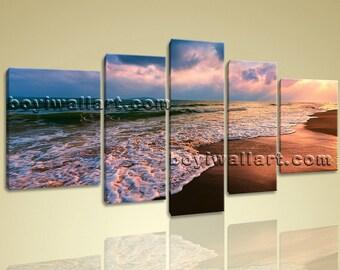 "Hot Sell Decorative Wall Art Canvas Print Hd Sunset Landscape Sea Wave Peaceful, Sea Wave canvas art,  size giclee print, 72""x40"""