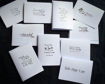 10 scripture blank note cards and envelopes. Bible verse scriptures. 10 different scriptures. Cards are white.