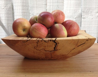 Natural Rustic Spalted Elm Wood Large Size Carved Wooden Bowl, Fruit Bowl, Trencher, Bread Bowl