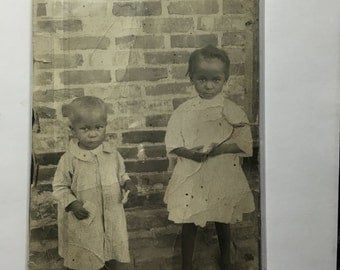 Shabby VIntage Barefoot Babies - Antique Photograph, RPPC African American -Black Americana