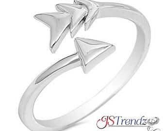 Sterling Silver Open Plain Arrow Wrap Ring size 5 6 7 8 9 10