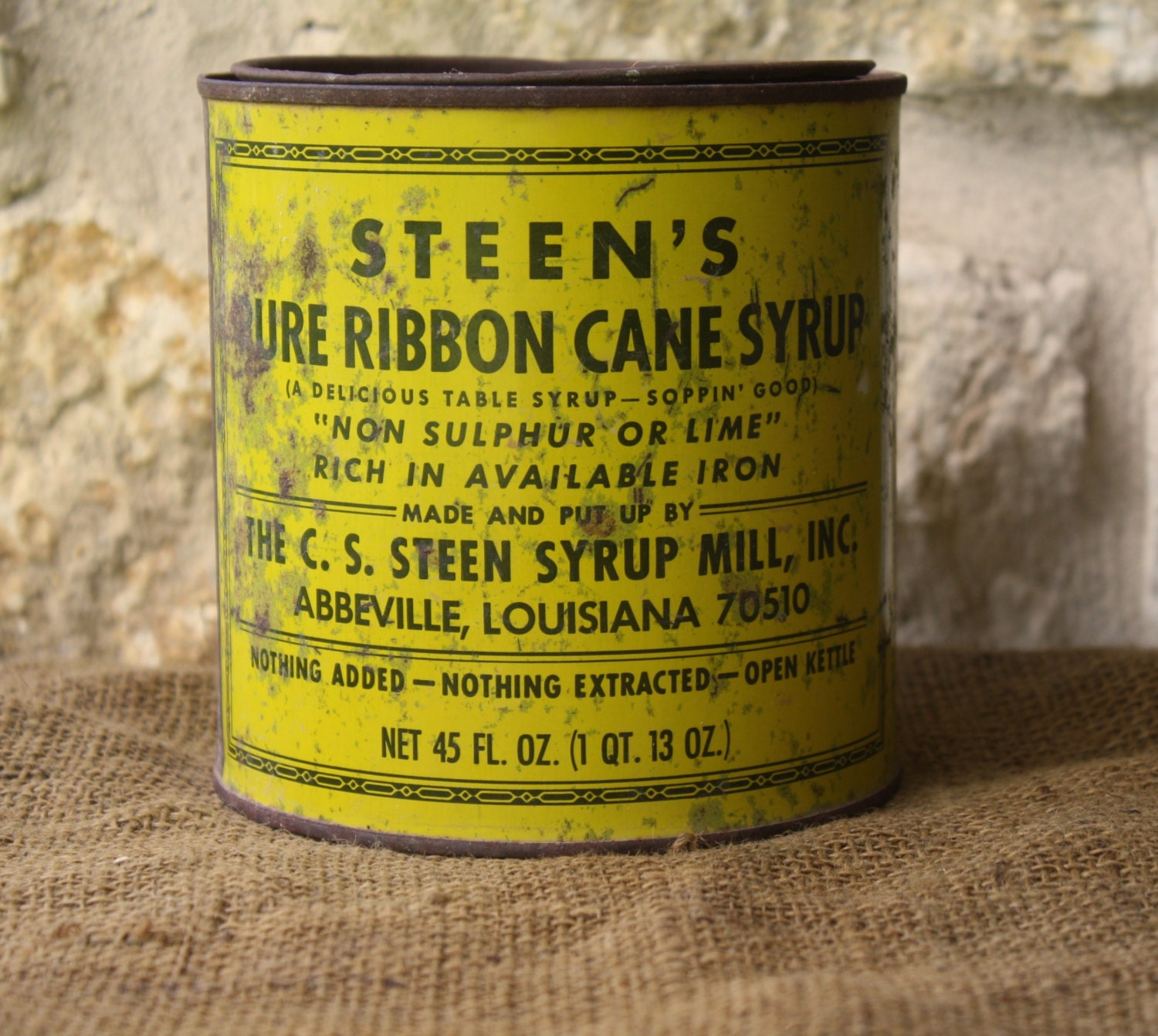 Vintage Steen's Pure Ribbon Cane Syrup Tin Country