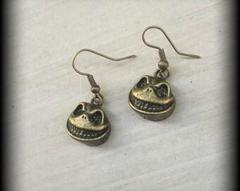 Jack Skellington Halloween earrings Nightmare Before Christmas Antique Bronze Tim Burton earrings for pierced ears