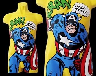 Captain America 3D Comic Pop Art Mannequin - Custom Hand-Painted