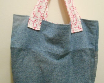 Recycled Denim Bag with Flannel Lining