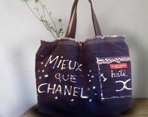 Large tote in jeans with clorox designs