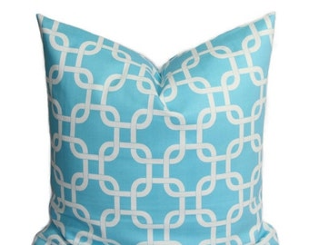 SALE Blue Pillows Decorative Throw Pillows 20 x 20 Inches Girly Blue on White Chain Link Turquoise Pillow Covers Gotcha Girly Blue Cushion C
