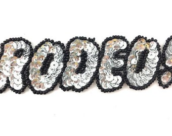 """Rodeo! Word Applique, Sequin Beaded, 4.5"""" x 1.5""""  -15977a-0034-0221"""