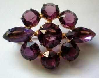 Lavender Rhinestone Open Back Brooch - 4519