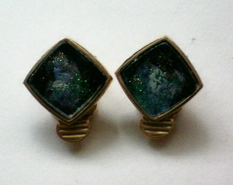 Square Gold Tone Clip Earrings with Unusual Centers - 4531