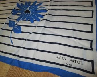 Vintage Jean Patou Silk Scarf - Floral Print Scarf