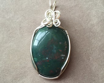 Bloodstone Wire Wrapped Sterling Silver Pendant