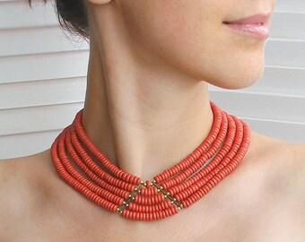 Ethnic jewelry necklace-Ukrainian jewelry-Ceramic collar necklace-Ethnic necklace-Ukraine jewelry necklace-Folk jewelry-Beige necklace