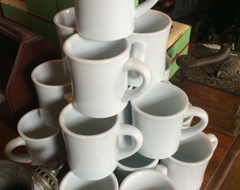 Eight 1960's Cafe Diner Coffee Cups, Thick and Durable, Eight Cups, Unused (Many Available)